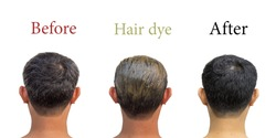 Middle-aged Asian people aged the 30s or 40s have gray or white hair before using black dye and after dyeing their hair with copy space on isolated white background. Clipping path in the picture.