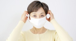 Middle-aged asian woman wearing facial mask. Prevent infection.