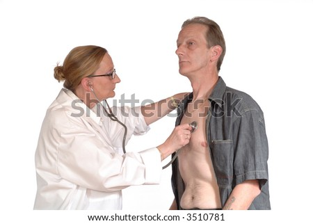 ... female doctor giving physical exam to male patient. health care