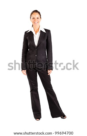 middle aged businesswoman full length portrait on white
