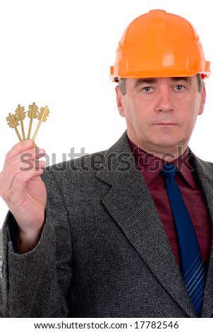 middle-aged constructor holding a key