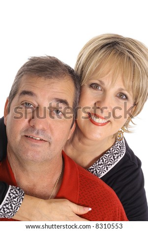middle aged couple isolated on white