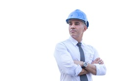 middle aged engineer wearing blue helmet crossed arms standing isolated on white background with clipping path.