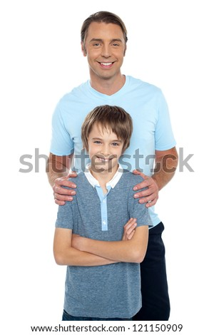 Middle aged father posing with his smart son, all against white background.