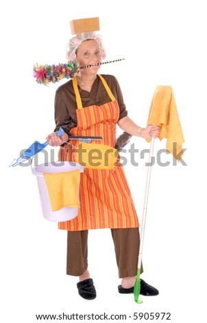 stock photo : Middle aged housewife with curlers in hair and net on head, ...