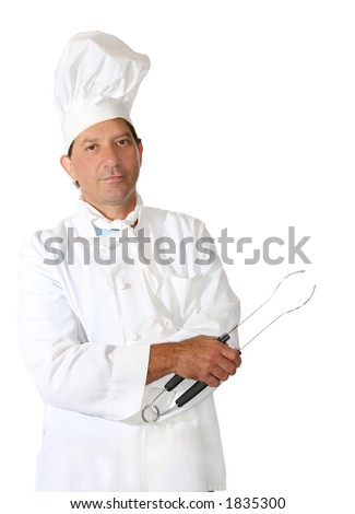 Middle-aged male chef with utensil
