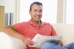 Middle-aged man relaxing at home
