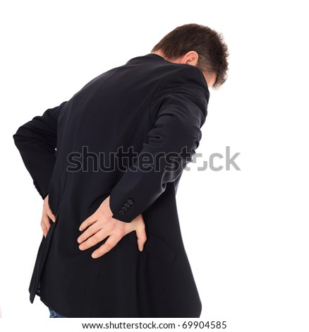 Middle-aged man suffering from backache. All on white background. - stock photo