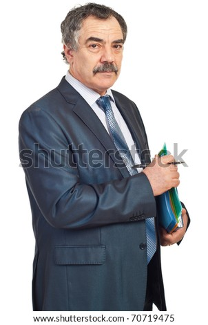 Middle aged manager holding folders and pencil isolated on white background