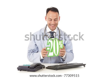 Middle aged successful caucasian man doctor holding up a health care sale sign, 20 % ,  Studio shot. White background