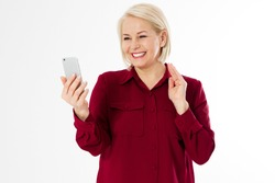 Middle-aged woman hold phone, middle age pretty woman video chatting smartphone with family isolated copy space
