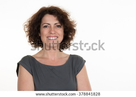 Middle aged woman isolated on a white background #378841828