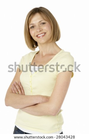 Middle Aged Woman Smiling - stock photo