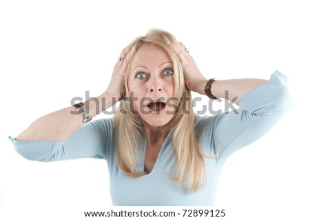 Middle aged woman tearing her hair on isolated background