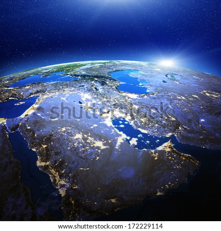 Middle East and Gulf city lights. Elements of this image furnished by NASA