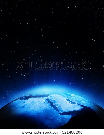 Middle East at night. Elements of this image furnished by NASA
