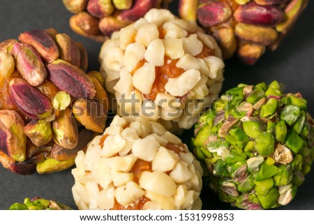 Middle east confectionery snack. Peanut, pistachio, peach and apricot. Healthy food. Closeup.
