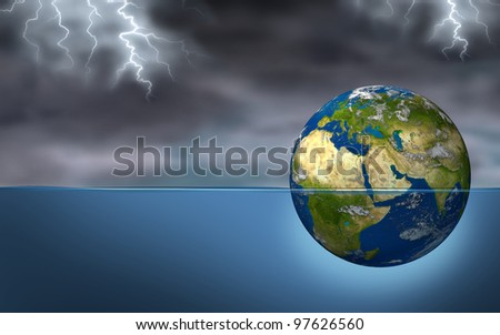 Middle East crisis as a planet earth sphere sinking during a lightning storm as political struggles of countries as Iran Israel Egypt Libya Syria Saudi Arabia elements of this image furnished by NA