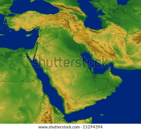Middle East map with terrain