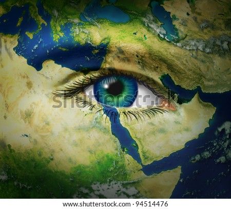 Middle East news reporting events from arab hot spots of turmoil and revolution with map and human eye during the events of Syria Egypt Tunisia Iran and Libya as democratic history is reported.