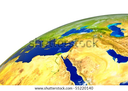 Middle East on realistic globe