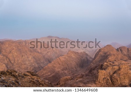 Middle East or Africa, picturesque bare mountain range and a large sandy valley desert landscapes landscape photography, foreground focus, foreground focus #1346649608