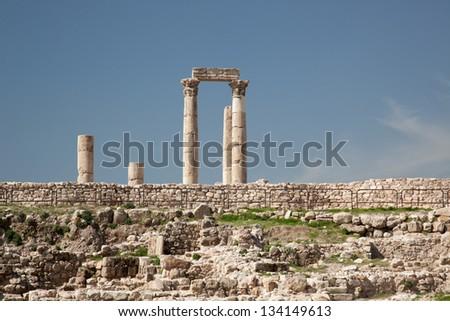 Middle East ruins of Bronze Age City, the Citadel of Amman, Jordan