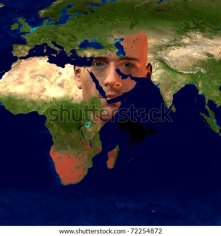 Middle East Superimposed on Mans Face