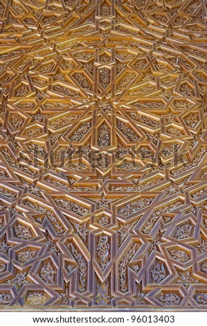 middle east traditional craving art on wooden door