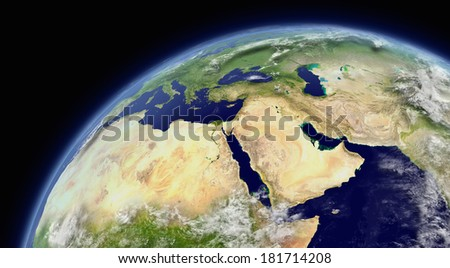 Middle East viewed from space with atmosphere and clouds. Elements of this image furnished by NASA.