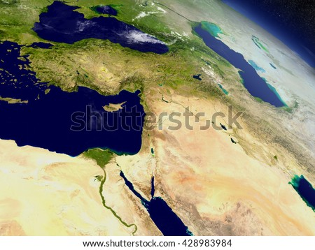 Middle East with surrounding region as seen from Earth's orbit in space. 3D illustration with highly detailed planet surface and clouds in the atmosphere. Elements of this image furnished by NASA. Stockfoto ©