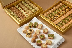 Middle Eastern & Arab desserts, Ramadan & feast (Muslim Eid) desserts, Assortment of oriental sweets & pastries decorated in a gift box