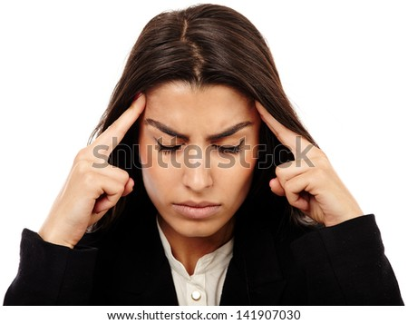 Middle Eastern business woman with strong migraine isolated on white