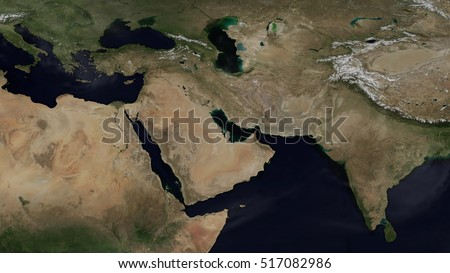 Middle Eastern Day Map Space View (Elements of this image furnished by NASA)