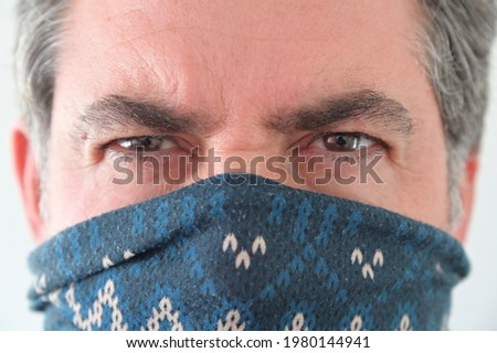 Middle Eastern Militant Man disguising his identity by wearing a  balaclava face cover. Photo stock ©