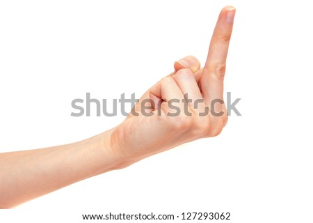 Middle finger Sign by female hand isolated on white