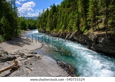 Middle Fork Flathead River in Glacier National Park, Montana USA