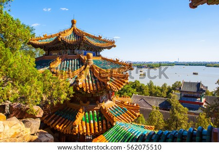 Middle reaches of painting of Summer Palace. Summer Palace located in Beijing of China. It was royal garden. #562075510