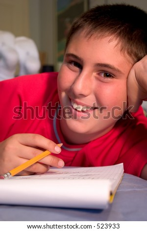 Middle school boy trying to get back into the swing of school after long summer break