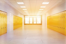 Middle school lobby with bright lockers. Fitness Gym. Concept of textbook storage at school. 3d rendering. Toned image