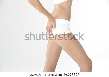 Middle section of a woman's body wearing white underwear. Profile view.