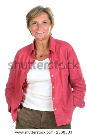 Middleaged smiling woman posing on white background