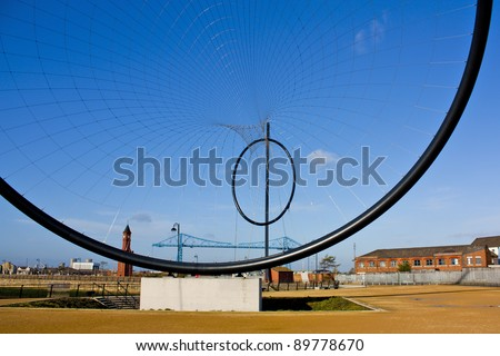 MIDDLESBOROUGH, UK – NOVEMBER 12: Temenos: Anish Kapoor (50mX120m) 1st of 5 public art pieces that will form the worlds largest art installation Tees Valley Giants at Middlehaven Dock November 12th 2011