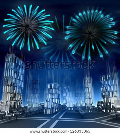 Midnight firework explosions over modern skyscraper city illustration