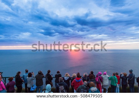 Midnight sun at north cape - Norway