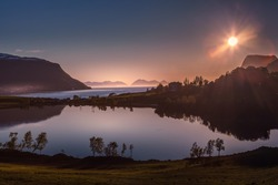Midnight sun from Kasfjord in Harstad, Northern Norway, 18 june 2020