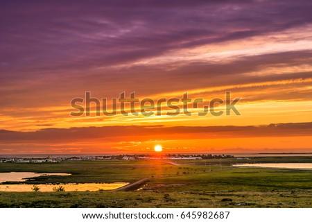 Midnight sun in Iceland.