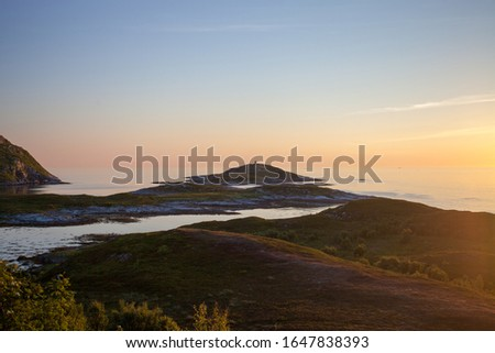 Midnight sun in northern Norway. Sea in the background, land with fauna in the foreground. Around 2am.