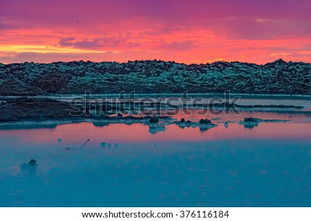 Midnight sun over the blue lagoon, Iceland
