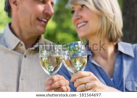 Midsection of romantic couple toasting wine glasses in park